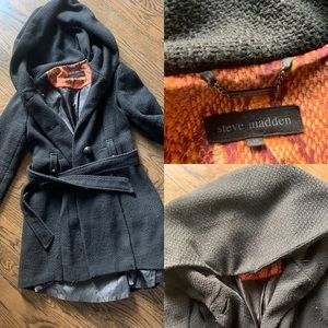 Steve Madden fit flare over sized hoodie peacoat